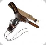 Ceinturon holster marron + balles pour 1 revolver western