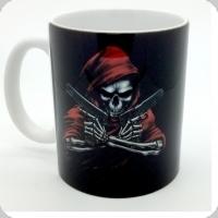Mug squelette rouge  et armé