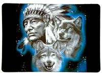 Tapis de souris « Chef indien et loup»