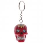 Porte clés crâne Rouge  jour des morts mexicain