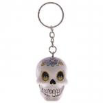 Porte clés crâne Blanc  jour des morts mexicain