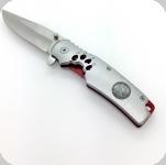 Couteau Pliant Argenté et rouge  Patte de Loup Lame de 8.8 cm