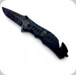 Couteau Pliant noir tête de mort  Lame de 9 cm