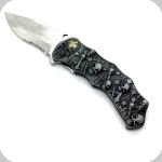 Couteau pliant tête de mort templier