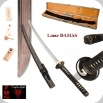 Katana  Lame  DAMAS ( Bois  noir )