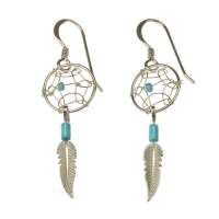 Boucle d'Oreilles Dreamcatcher, Plume, Turquoise