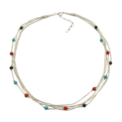 Collier 5 Fils Perles Multi couleurs