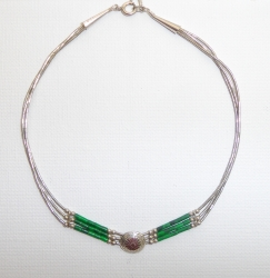 Collier 3 Fils + Choker Malachite