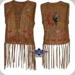 Gilet à franges Western Jollen Brown