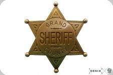 Etoile de shériff Grand County à 6 pointes Doré