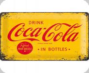 Plaque métal publicitaire vintage COCA COLA  Fond jaune de 60 x 40 XL