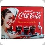 Plaque métal publicitaire vintage  Drink COCA COLA de 40 x 30