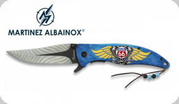 Couteau Pliant ROUTE 66 Bleu 3D   Lame de 9 cm