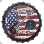 Capsule Métal relief  Guitare sur fond de drapeau americain