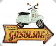 Enseigne vintage 3D à Led  Fleche Gasoline Vespa
