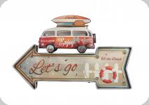 Enseigne vintage 3D à Led  Fleche Let s Go Combi Rouge