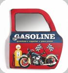 Decor mural vintage 3D   portière/ porte Gasoline Moto avec miroir