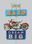 Decor mural vintage 3D  Panneau Work Hard Dream Big
