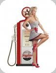 Decor mural  vintage 3D  Pompe a Essence Pin Up Blonde