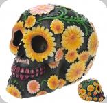 Crâne tête de mort  Jour des Mort Fleur Jaune
