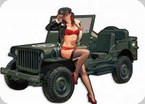 Decor mural vintage 3D  Plaque Jeep Pin Up