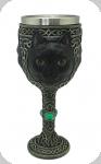 Calice ( ciboire, verre )  Chat noire de 19.5 cm