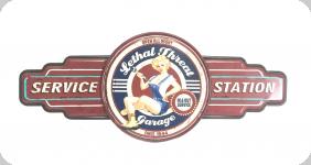 Decor mural vintage 3D  Enseigne Service Pin Up Station