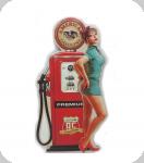 Decor mural vintage 3D  Enseigne Pompe Essance Rouge Pin Up