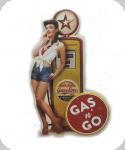 Decor mural vintage 3D  Enseigne Pompe Essance Jaune Pin Up