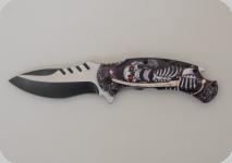 Couteau pliant Skull pirate avec sabre   lame de 9 cm