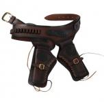 Ceinturon double holster marron  pour 2 revolvers western