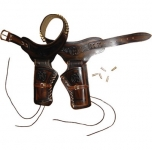 Ceinturon double holster marron + balles pour 2 revolvers western