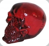 Crâne tête de mort en verre  Translucide Rouge