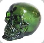 Crâne tête de mort en verre  Translucide Vert