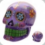 Crane Tirelire jour des mort Mexicain   violet de 20 cm