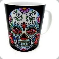 Mug tête de mort mexicaine fond noir