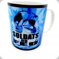 Mug Casque flammes Bleu  soldat du feu