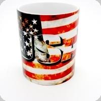Mug USA sur fond de drapeaux Américian