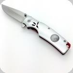 Couteau Pliant Argenté et rouge  Patte d'aigle Lame de 8.8 cm