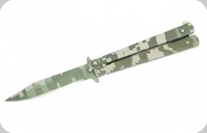 Couteau papillon Camo Fragmenté   manche Alu  lame de 10 cm