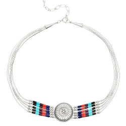 Collier 5 Fils Choker Pierres Multiples