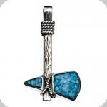 Pendentif Tomawak Argent/Turquoise