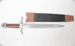Dague Templière de Combat forgée  avec fourreau cuir