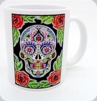 Mug tête de mort mexicaine fond vert