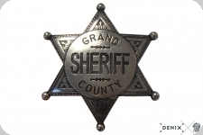 Etoile de shériff Grand County à 6 pointes Gris
