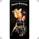Plaque métal  vintage HARLEY DAVIDSON  Biker BaBe de 50 x 25 XL