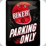 Plaque métal vintage  Biker Parking Only de 40 x 30