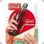 Plaque métal vintage Coca Cola  Good With Food de 40 x 30