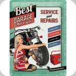 Plaque métal publicitaire vintage  Best Garage For Motorcycles de 40 x 30