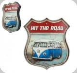 Enseigne vintage 3D à Led  Ecusson R66  WW  Hit The Road